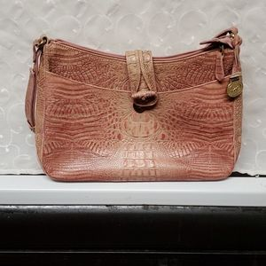 BRAHMIN LEATHER EMBOSSED HANDBAG
